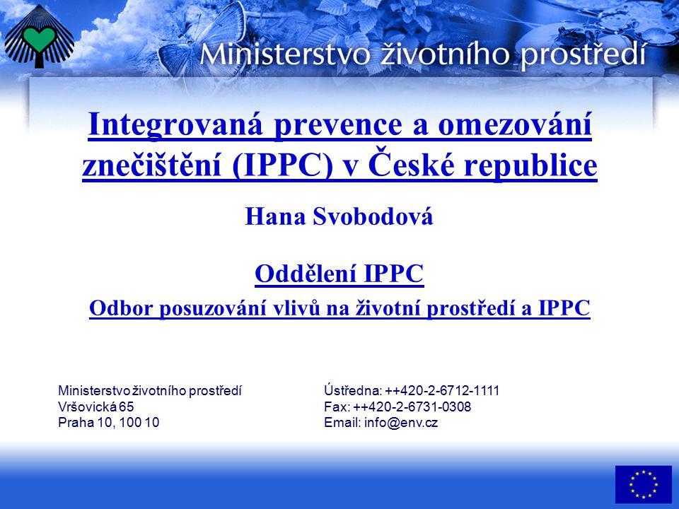 Integrovaná prevence a omezování znečištění (IPPC) v České republice