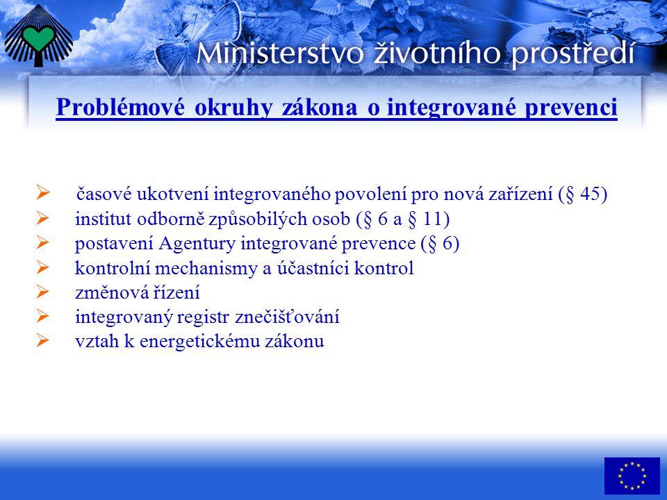 Problémové okruhy zákona o integrované prevenci