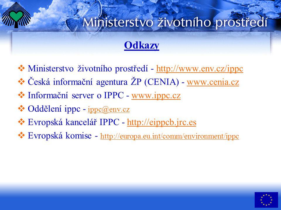 Odkazy Ministerstvo životního prostředí - http://www.env.cz/ippc