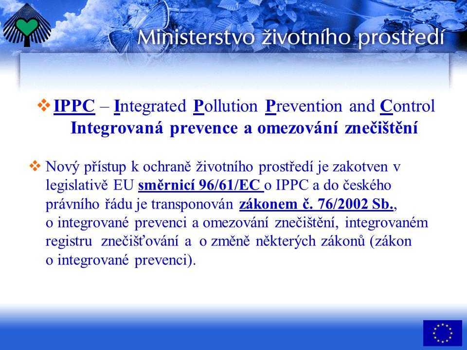 IPPC – Integrated Pollution Prevention and Control Integrovaná prevence a omezování znečištění