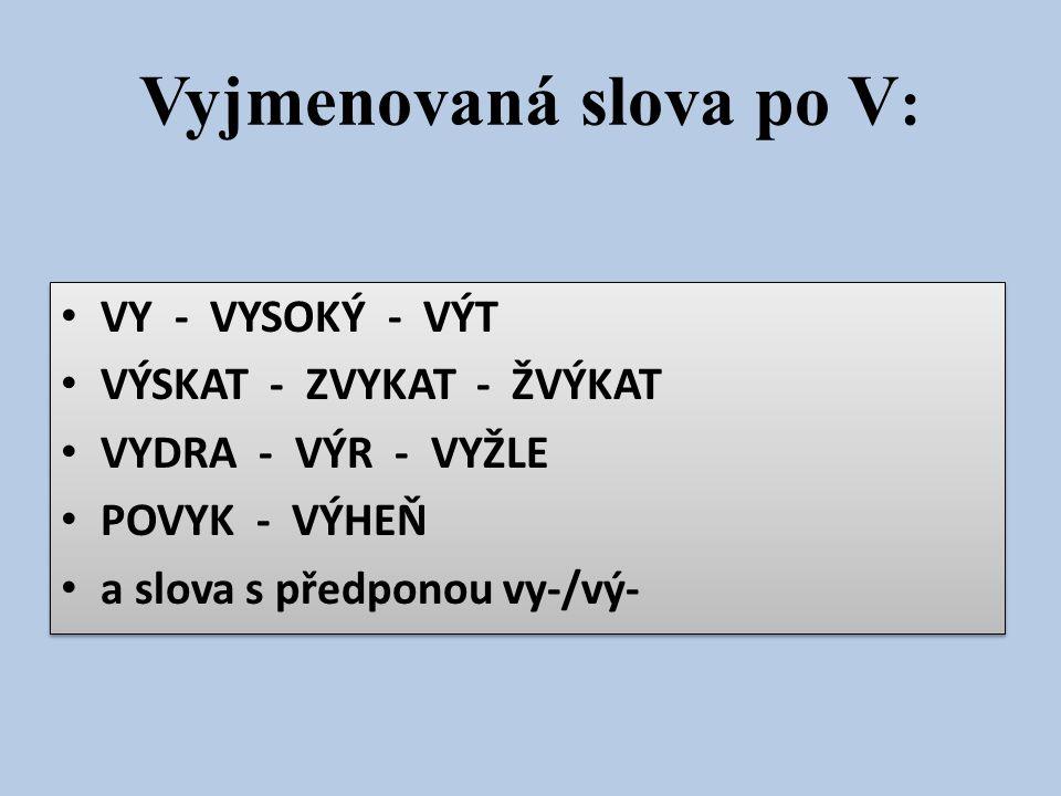 Vyjmenovaná slova po V: