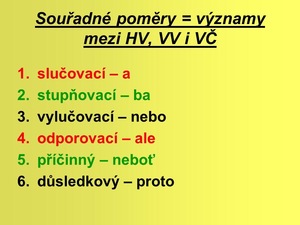 Souřadné poměry = významy mezi HV, VV i VČ
