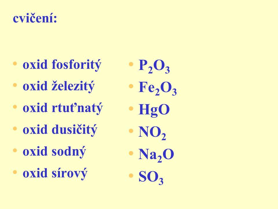 P2O3 Fe2O3 HgO NO2 Na2O SO3 cvičení: oxid fosforitý oxid železitý
