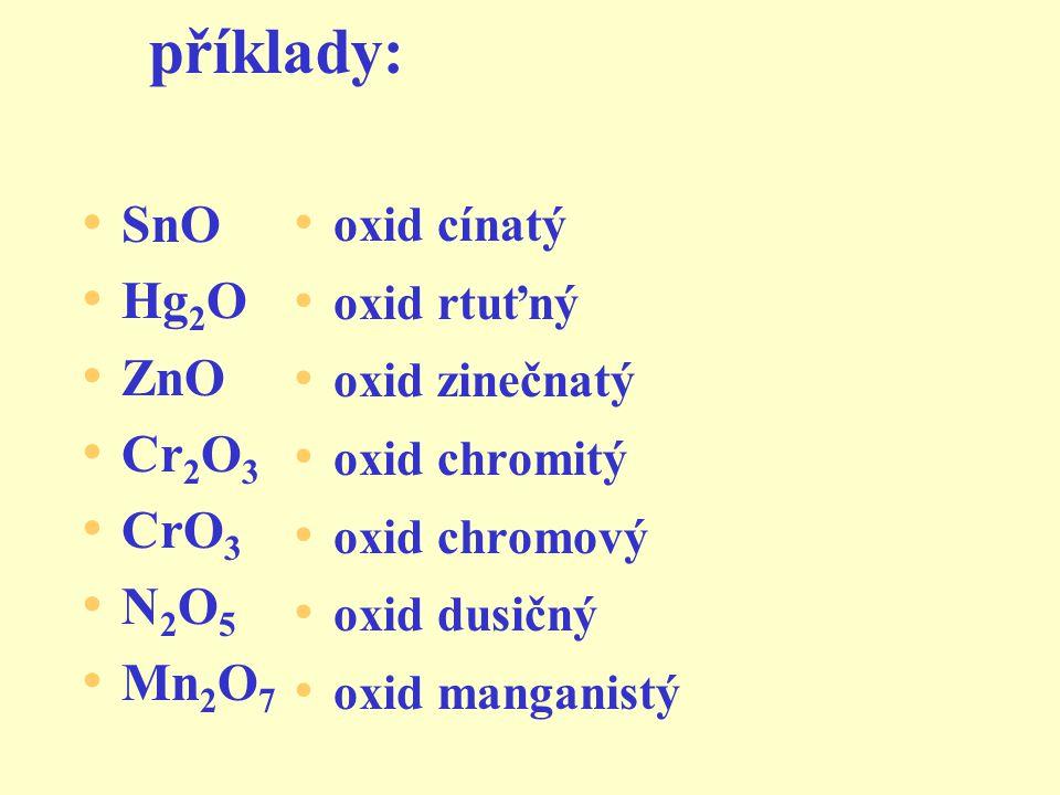 příklady: SnO Hg2O ZnO Cr2O3 CrO3 N2O5 Mn2O7 oxid cínatý oxid rtuťný