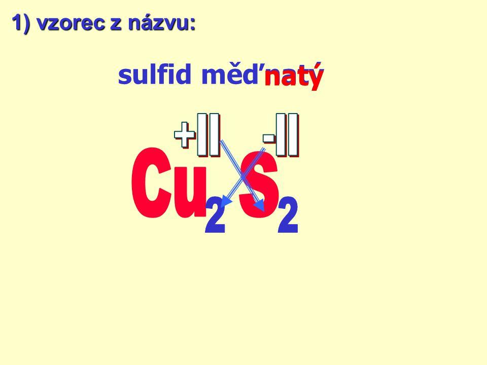 1) vzorec z názvu: sulfid měďnatý natý +II -II Cu S 2 2