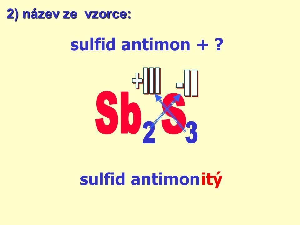 sulfid antimon + sulfid antimon itý +III -II Sb S 2 3