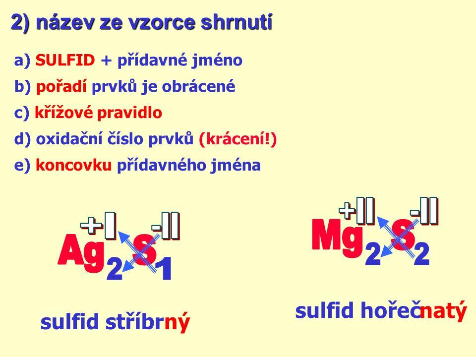 +II -II +I -II Mg S Ag S 2 2 2 1 2) název ze vzorce shrnutí
