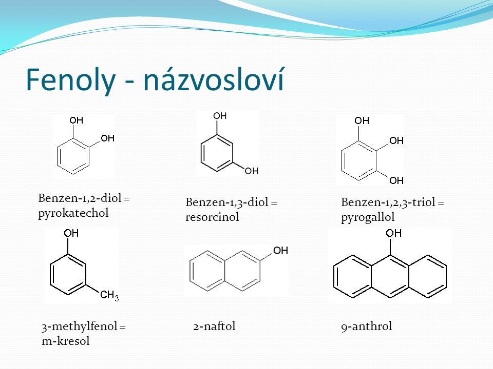 Fenoly - názvosloví Benzen-1,2-diol = pyrokatechol