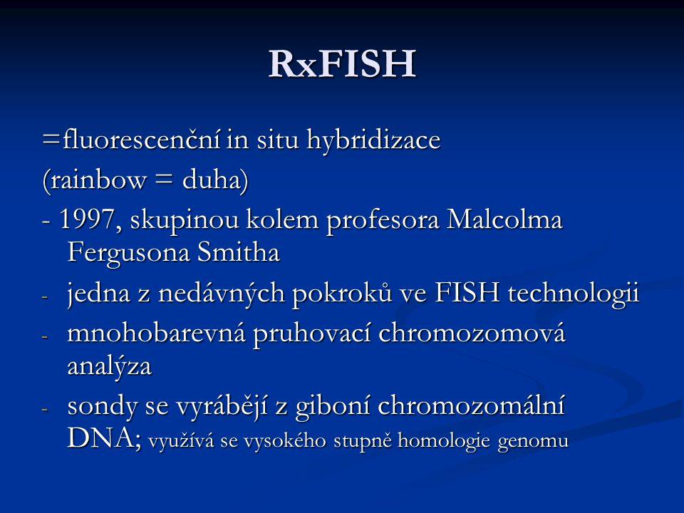 RxFISH =fluorescenční in situ hybridizace (rainbow = duha)