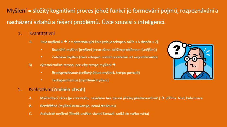 Myšlení = složitý kognitivní proces jehož funkcí je formování pojmů, rozpoznávání a nacházení vztahů a řešení problémů. Úzce souvisí s inteligencí.