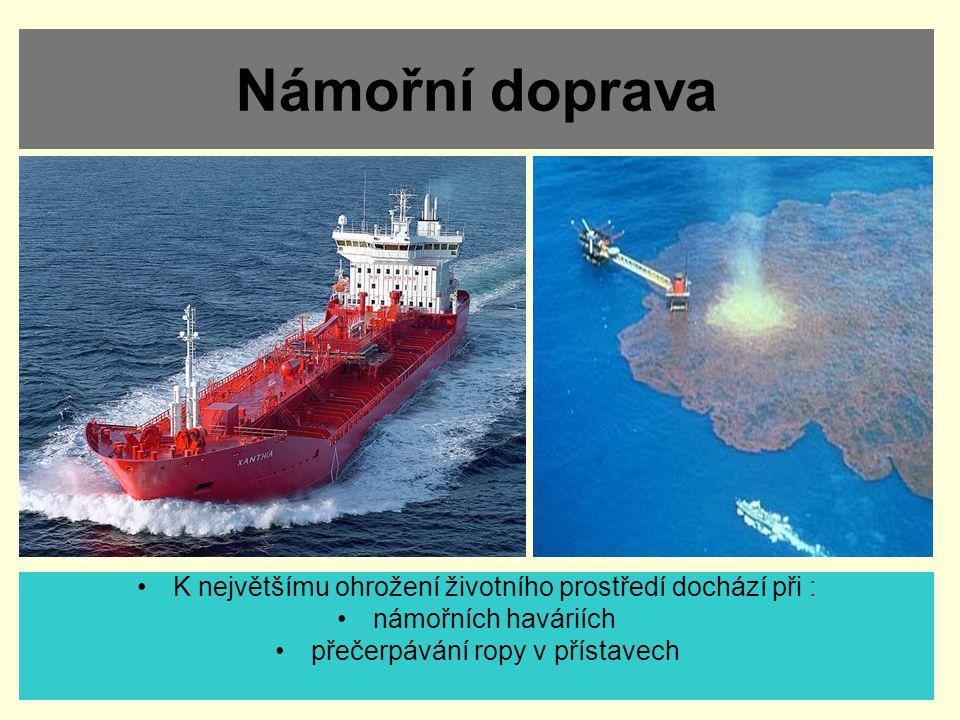 Námořní doprava K největšímu ohrožení životního prostředí dochází při : námořních haváriích.