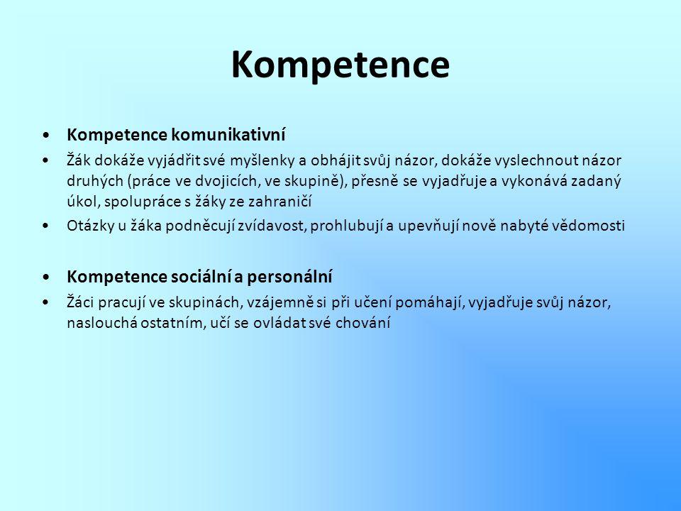 Kompetence Kompetence komunikativní Kompetence sociální a personální