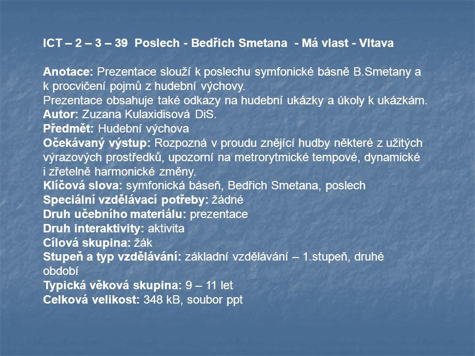 ICT – 2 – 3 – 39 Poslech - Bedřich Smetana - Má vlast - Vltava