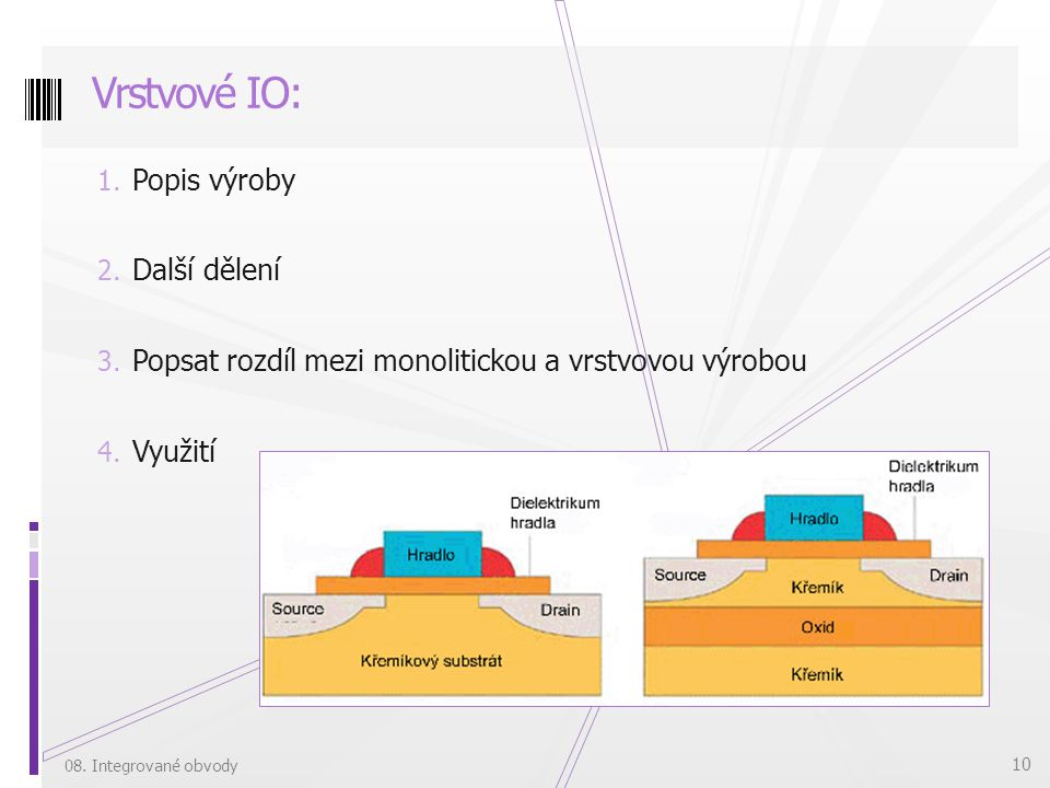 Vrstvové IO: Popis výroby Další dělení