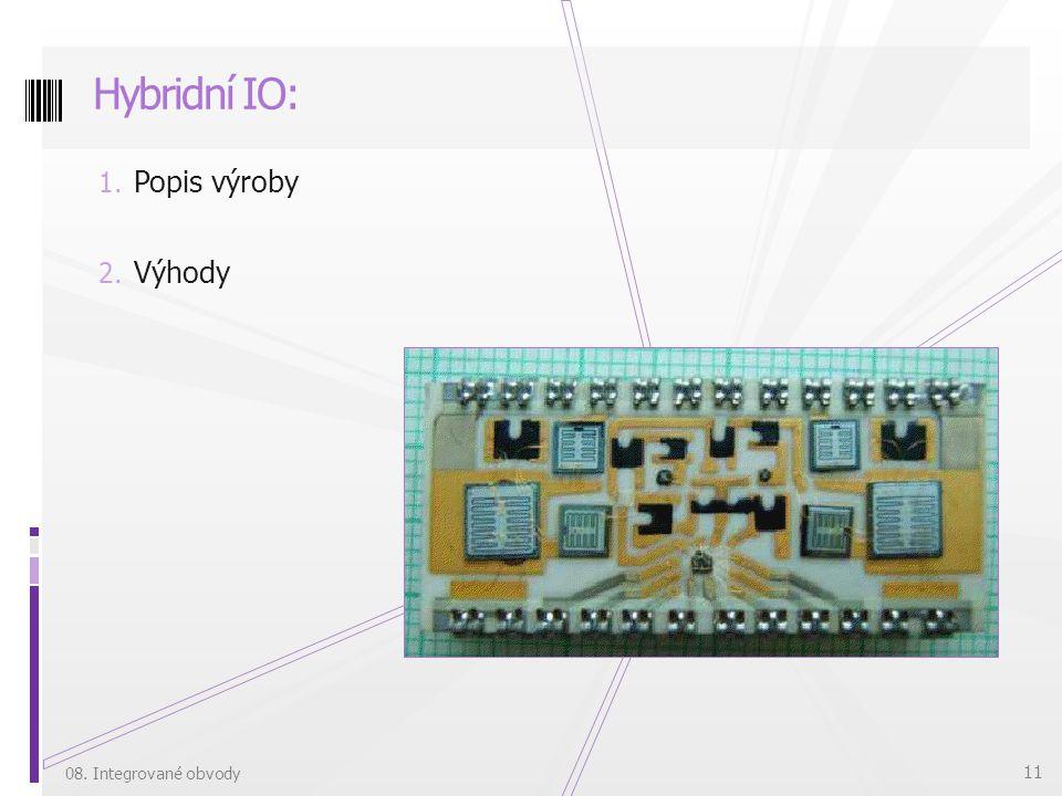 Hybridní IO: Popis výroby Výhody 08. Integrované obvody