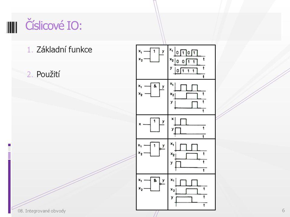 Číslicové IO: Základní funkce Použití 08. Integrované obvody