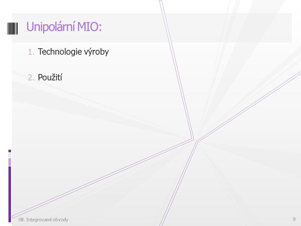 Unipolární MIO: Technologie výroby Použití 08. Integrované obvody
