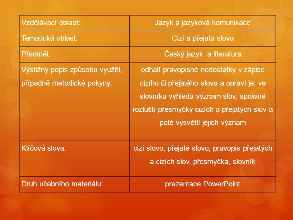 Jazyk a jazyková komunikace Tematická oblast: Cizí a přejatá slova