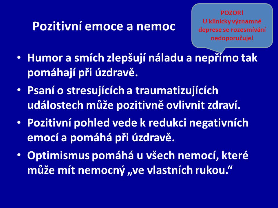 Pozitivní emoce a nemoc