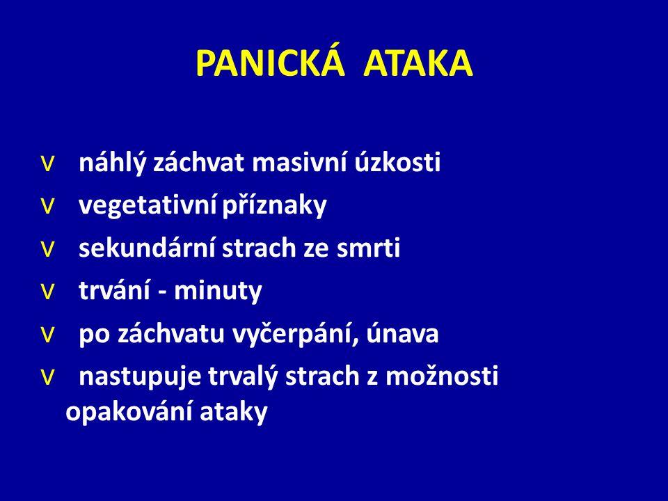 PANICKÁ ATAKA náhlý záchvat masivní úzkosti vegetativní příznaky