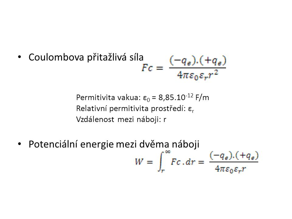 Coulombova přitažlivá síla
