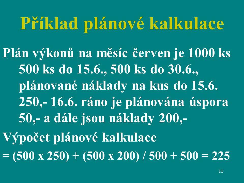 Příklad plánové kalkulace