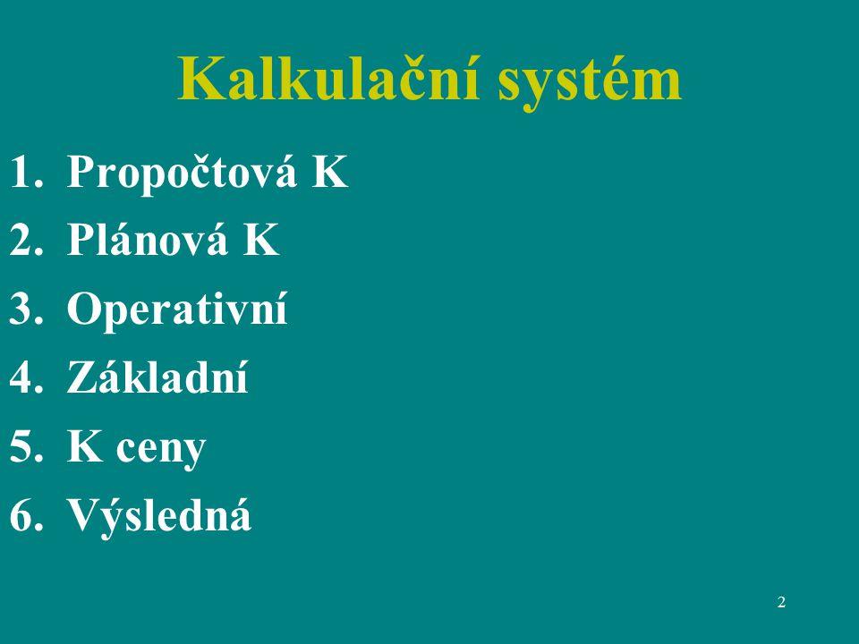 Kalkulační systém Propočtová K Plánová K Operativní Základní K ceny