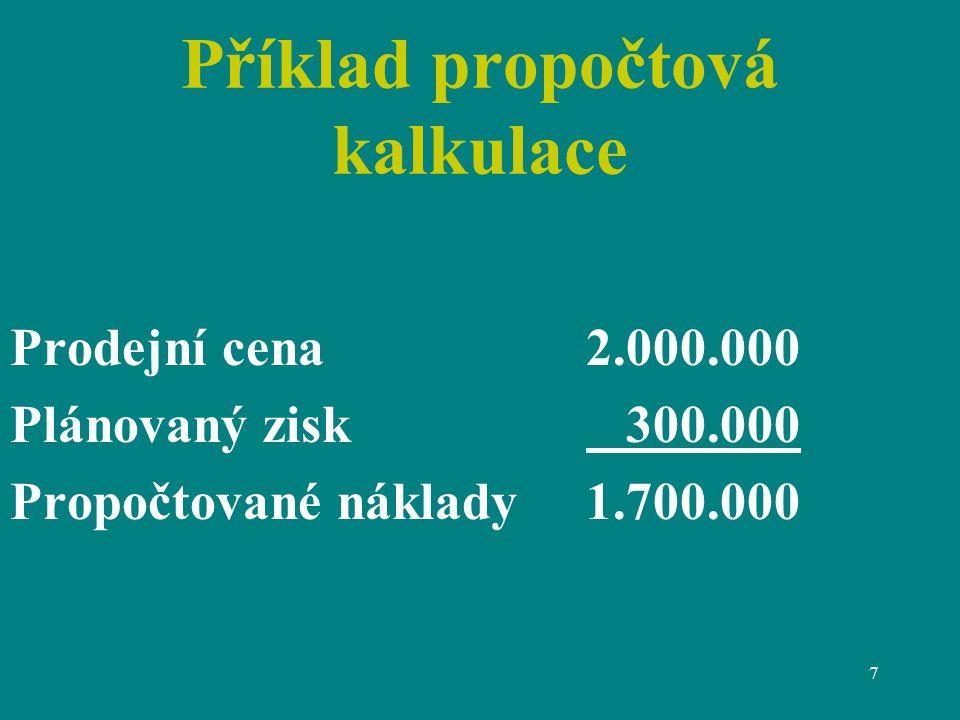 Příklad propočtová kalkulace