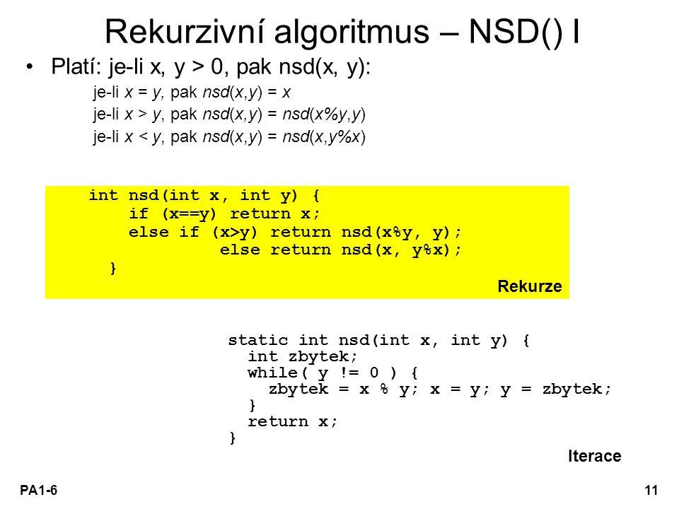 Rekurzivní algoritmus – NSD() I