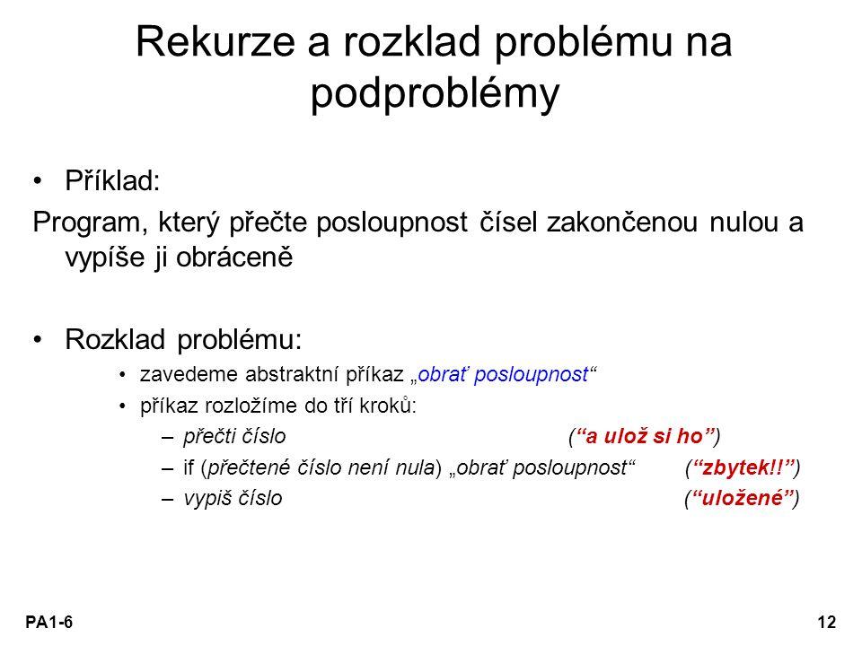 Rekurze a rozklad problému na podproblémy