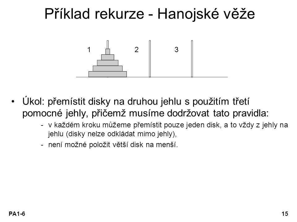 Příklad rekurze - Hanojské věže