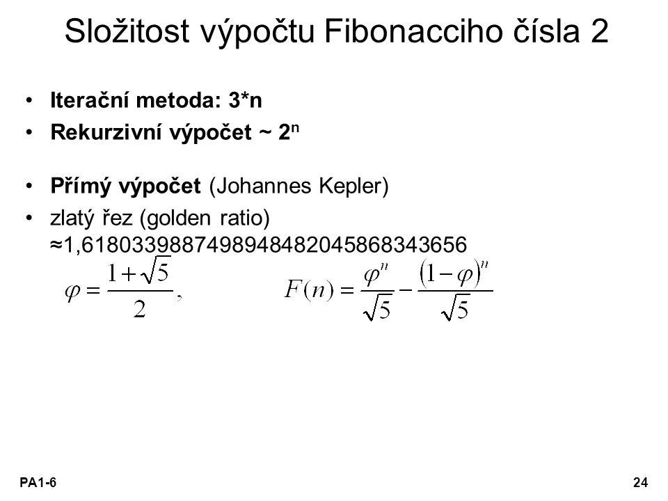 Složitost výpočtu Fibonacciho čísla 2