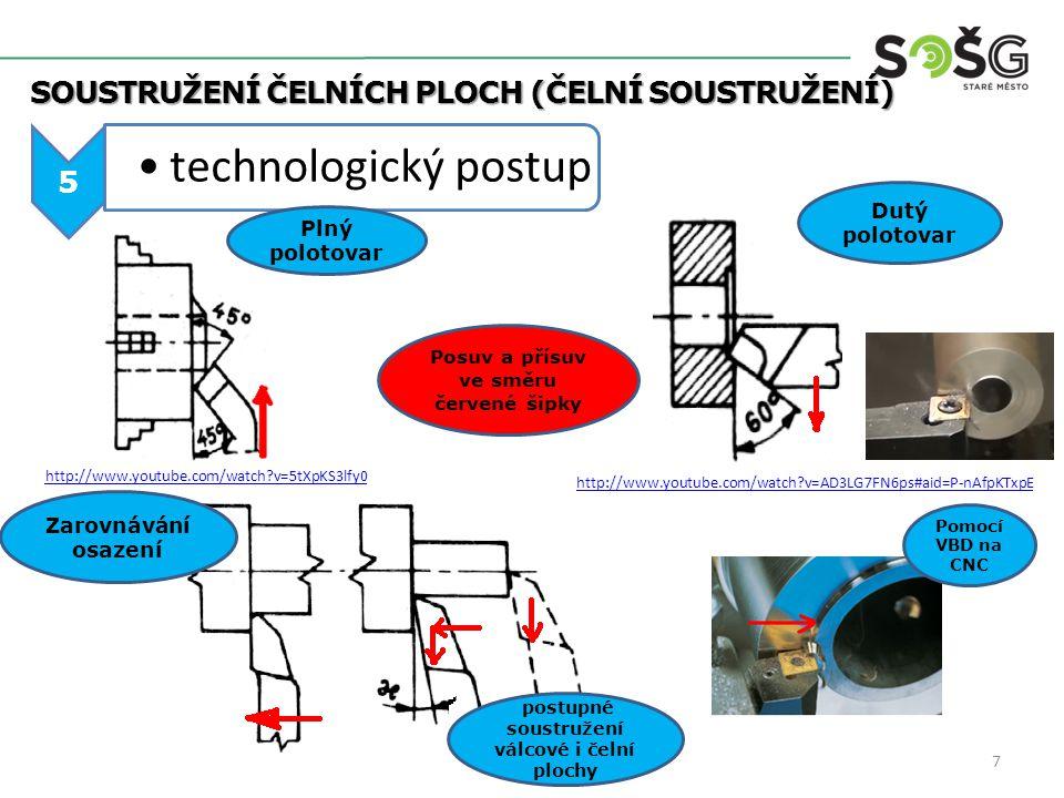 technologický postup Soustružení čelních ploch (ČELNÍ SOUSTRUŽENÍ) 5