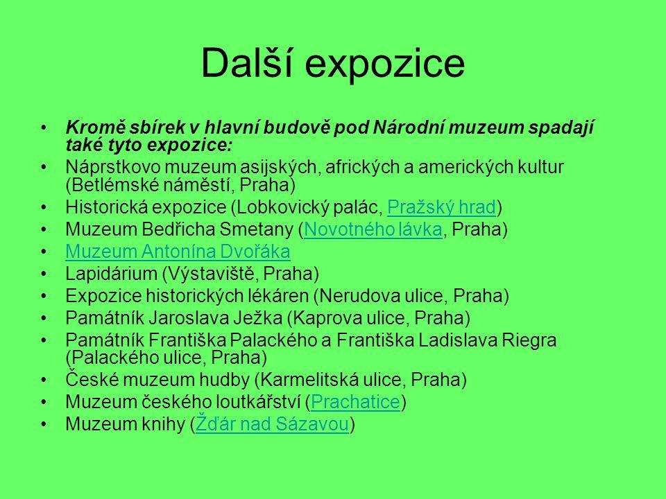 Další expozice Kromě sbírek v hlavní budově pod Národní muzeum spadají také tyto expozice: