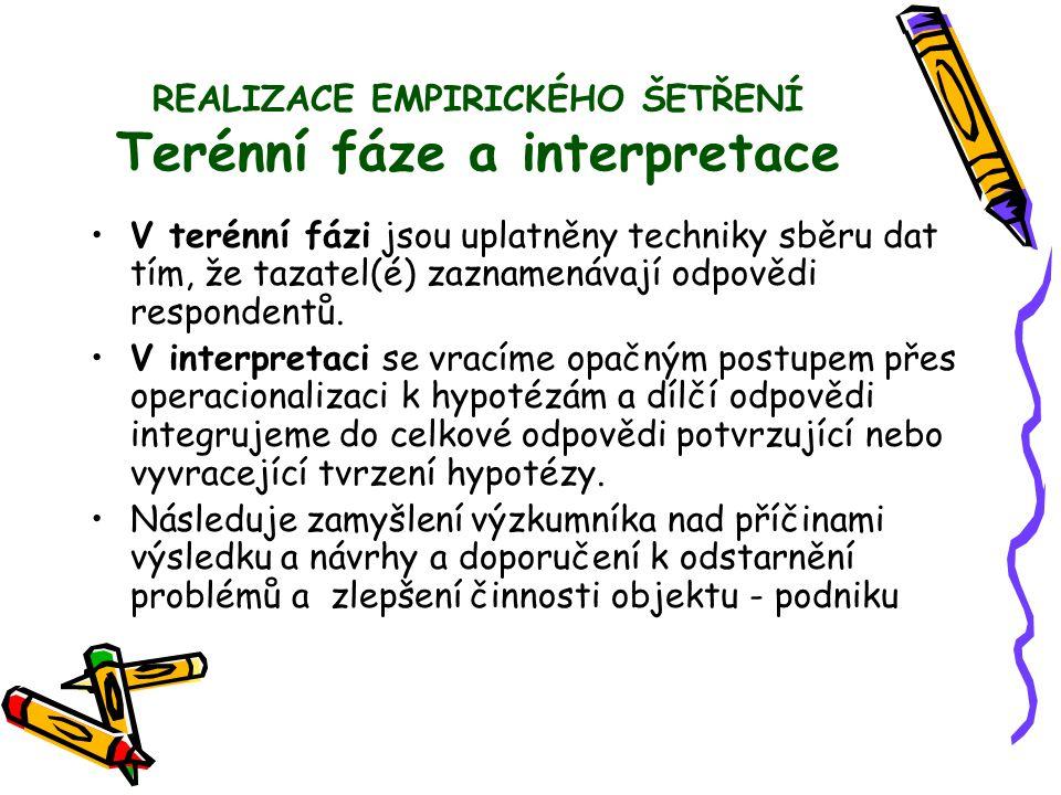 REALIZACE EMPIRICKÉHO ŠETŘENÍ Terénní fáze a interpretace