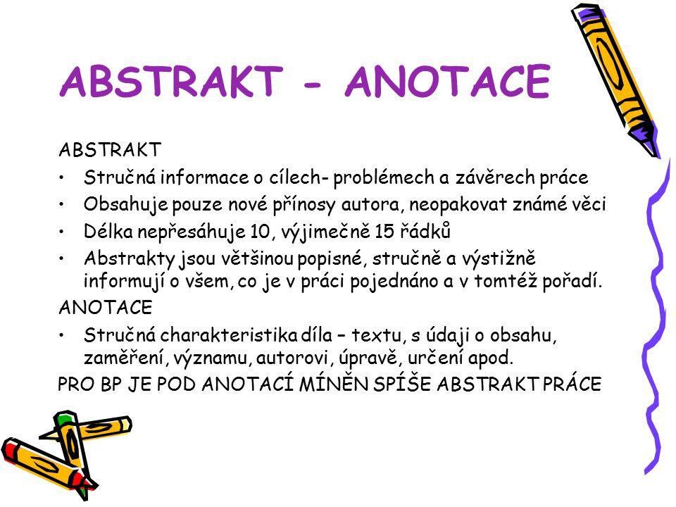 ABSTRAKT - ANOTACE ABSTRAKT
