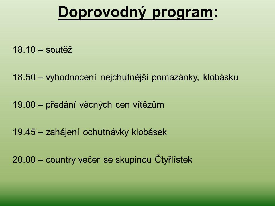 Doprovodný program: 18.10 – soutěž