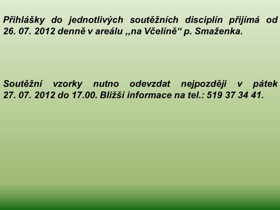 Přihlášky do jednotlivých soutěžních disciplín přijímá od 26. 07