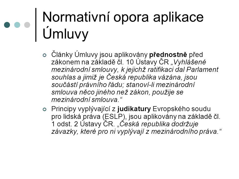 Normativní opora aplikace Úmluvy
