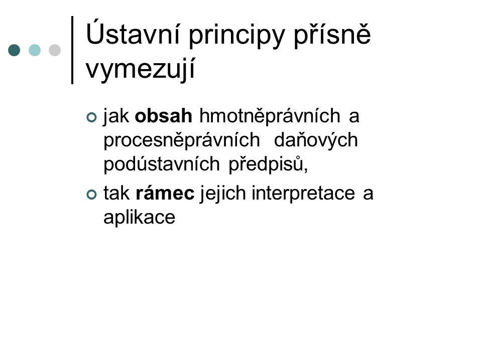 Ústavní principy přísně vymezují