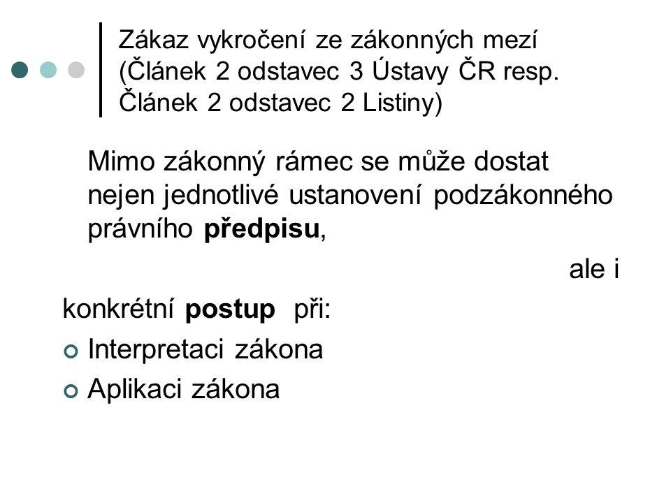 Zákaz vykročení ze zákonných mezí (Článek 2 odstavec 3 Ústavy ČR resp