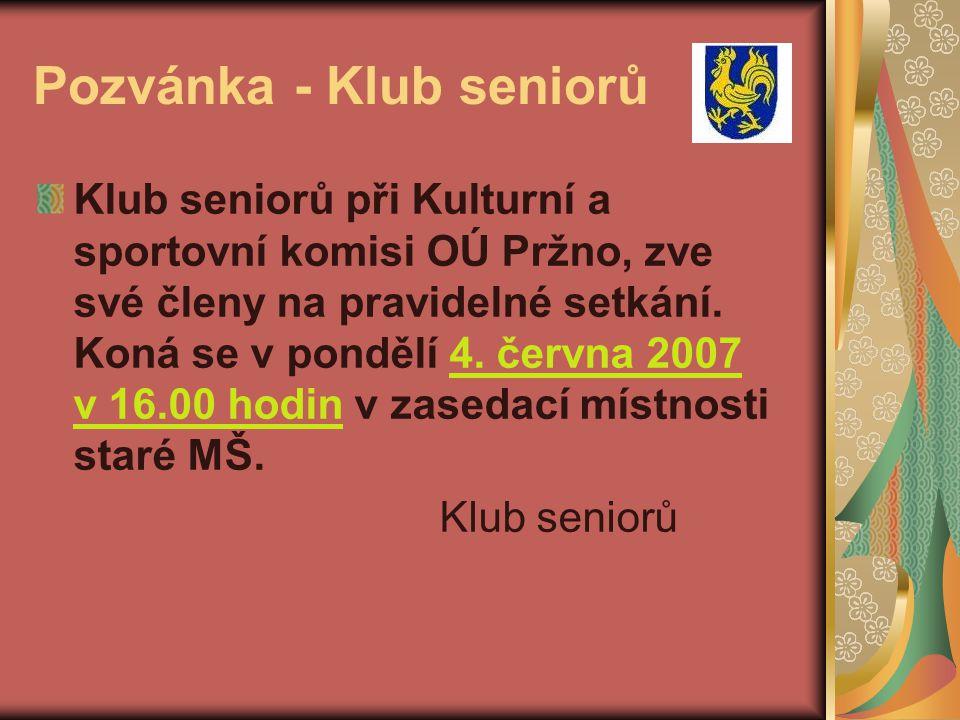 Pozvánka - Klub seniorů