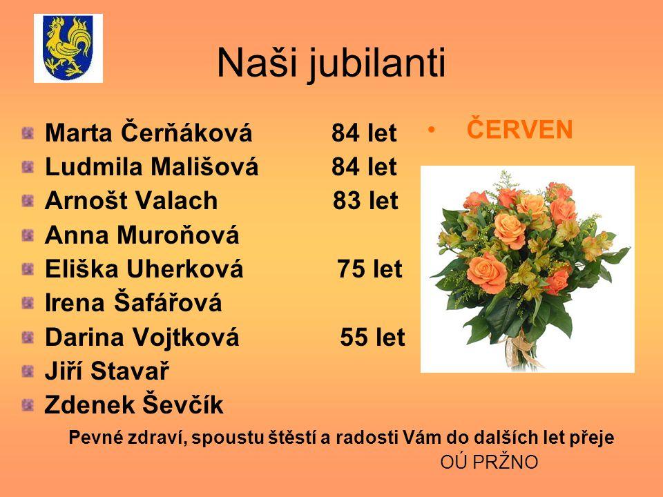 Naši jubilanti ČERVEN Marta Čerňáková 84 let Ludmila Mališová 84 let