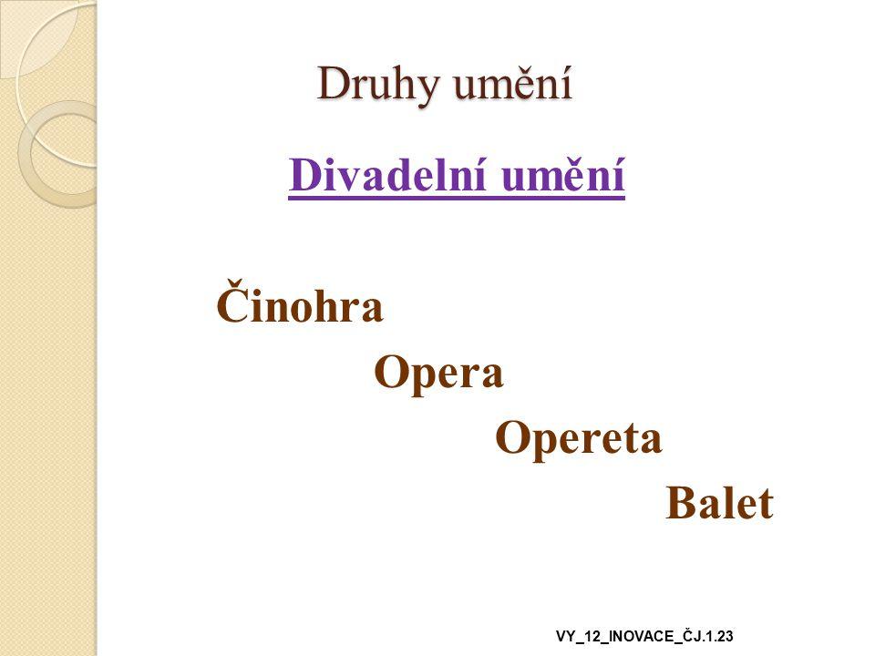 Druhy umění Divadelní umění Činohra Opera Opereta Balet