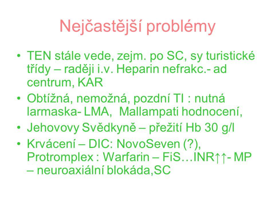 Nejčastější problémy TEN stále vede, zejm. po SC, sy turistické třídy – raději i.v. Heparin nefrakc.- ad centrum, KAR.