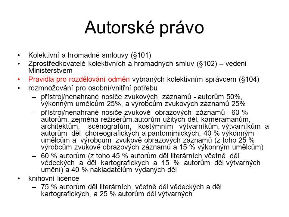 Autorské právo Kolektivní a hromadné smlouvy (§101)