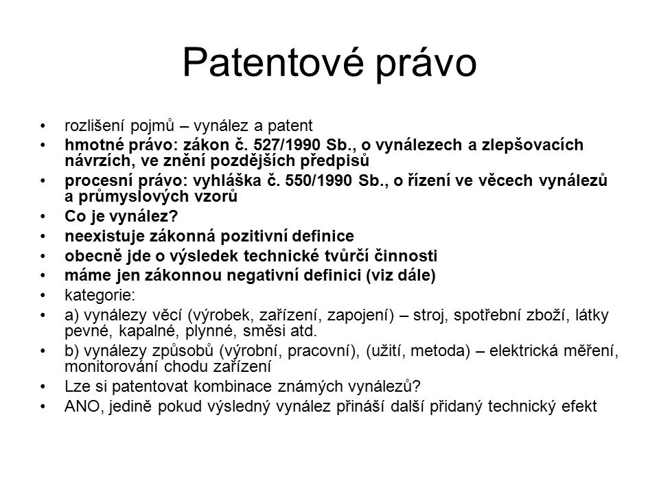Patentové právo rozlišení pojmů – vynález a patent