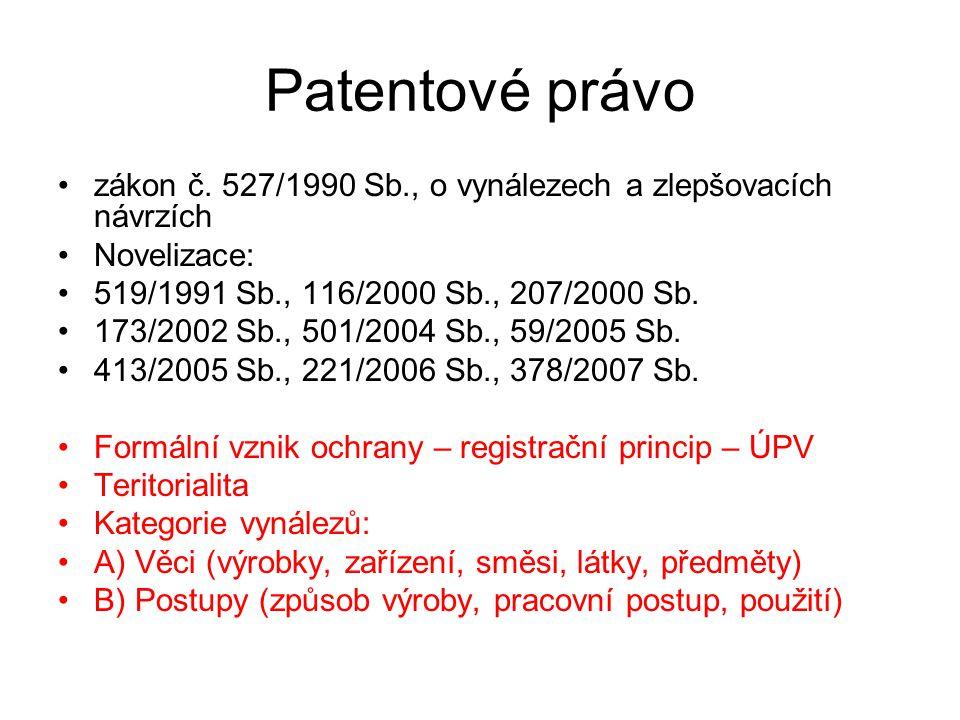 Patentové právo zákon č. 527/1990 Sb., o vynálezech a zlepšovacích návrzích. Novelizace: 519/1991 Sb., 116/2000 Sb., 207/2000 Sb.