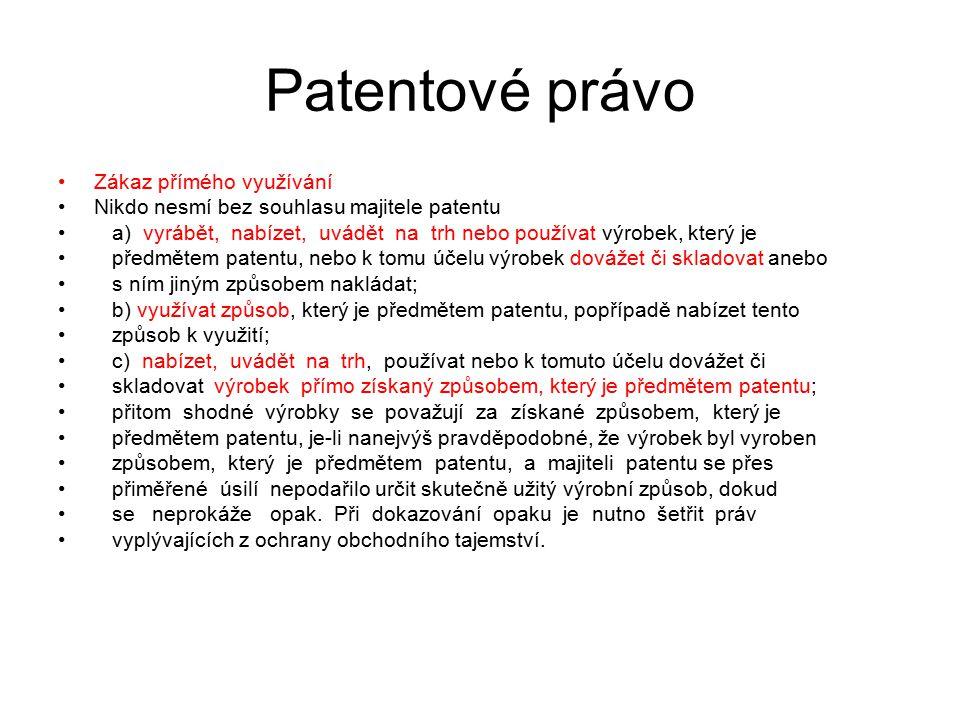 Patentové právo Zákaz přímého využívání