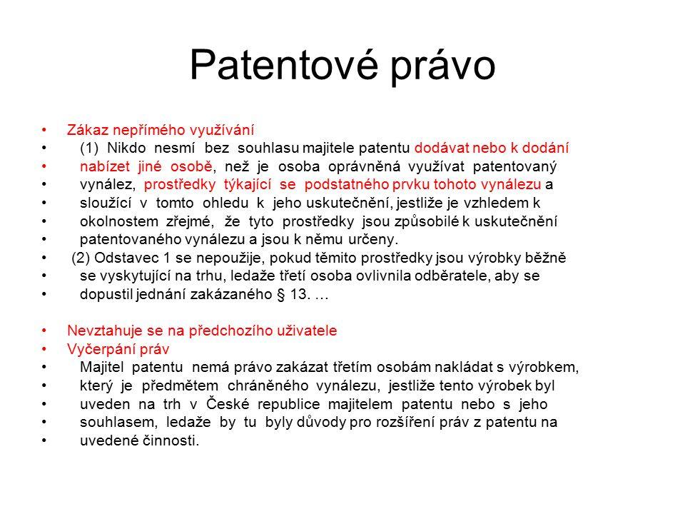 Patentové právo Zákaz nepřímého využívání